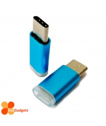 USB Type C to Micro USB Adapter - Light Blue