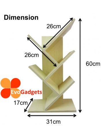 EvoGadgets Display Wooden / Bookshelf / Bookcase / Book Shelf Rack (Innovative Tree Shape)