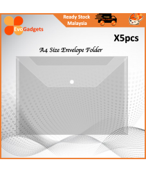 EvoGadgets - A4 Envelope Folder with Snap Button / Transparent / Clear View